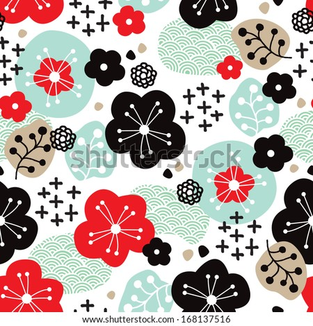 Seamless Japanese cherry blossom asian illustration background pattern in vector  - stock vector