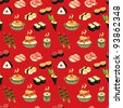 seamless Japanese food pattern - stock photo