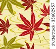 Seamless Japanese Maple Leaf Pattern - stock vector
