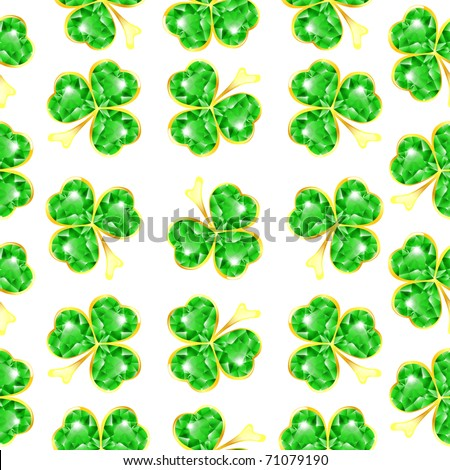 Seamless jewelry shamrock pattern at white background - stock vector