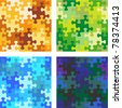 Seamless jigsaw puzzle patterns with whimsically shaped pieces - camouflage, water, night sky - stock photo