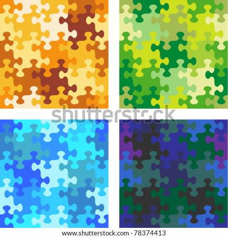 Seamless jigsaw puzzle patterns with whimsically shaped pieces - camouflage, water, night sky - stock vector