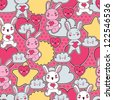 Seamless kawaii child pattern with cute doodles. - stock vector