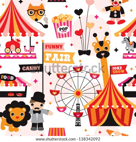 Seamless kids circus fun fair illustration fabric background pattern in vector - stock vector
