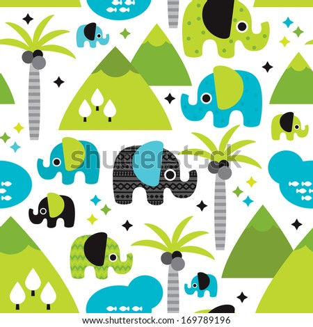 Seamless kids elephants woodland with palm tree illustration background pattern in vector - stock vector