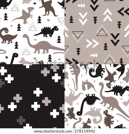 Seamless kids geometric dino triangles and dinosaur plus sign cross illustration background collection pattern in vector - stock vector