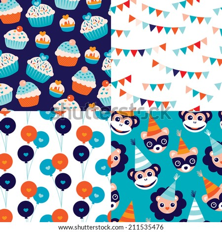 Seamless kids happy birthday cupcake garland happy animals and balloons wrapping paper and fabric background pattern in vector - stock vector