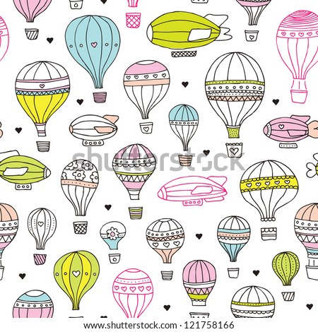 Seamless kids hot air balloon plane background pattern in vector - stock vector
