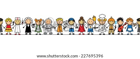 seamless kids in costumes professions standing in a row on a white background  - stock vector