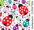 seamless kids lady bug polka dot illustration background pattern in vector - stock vector