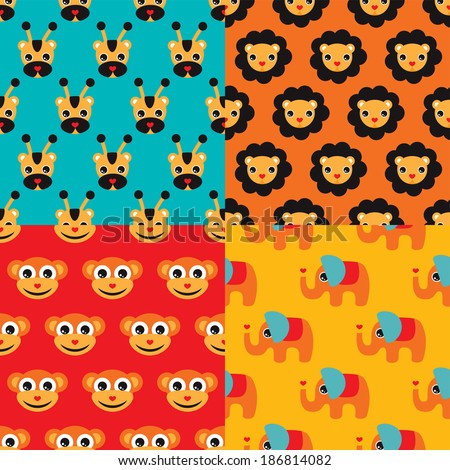Seamless kids lion giraffe elephant and monkey circus illustration background set pattern in vector - stock vector