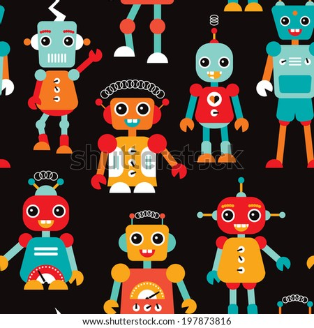 Seamless kids robots illustration colorful background pattern in vector - stock vector