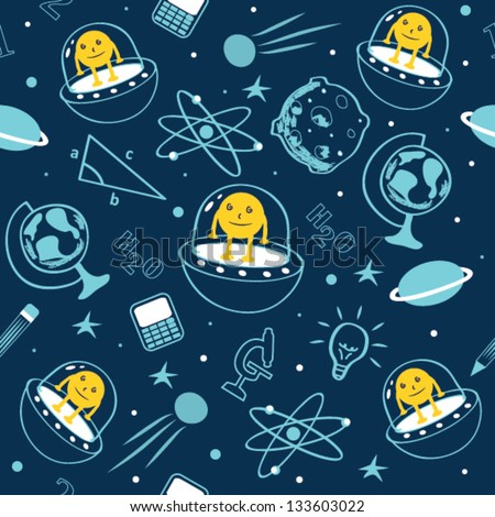 Seamless Kids Space Pattern with Icons - stock vector