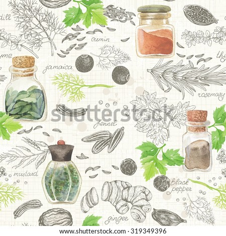 Seamless kitchen background of hand-drawn and watercolor spices and herbs, vector illustration in vintage style. - stock vector