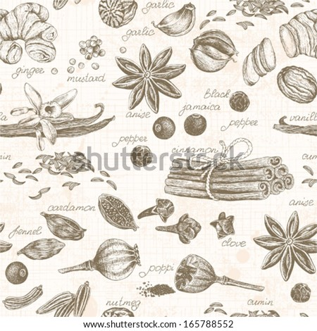 Seamless kitchen background with spices, vector illustration in vintage style. - stock vector