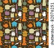 seamless kitchen pattern,vector illustration - stock vector