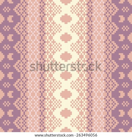 Seamless knitted pattern in Fair Isle style. Knit woolen jacquard ornament texture. Fabric color tracery background. Pixel art, embroidery.  - stock vector