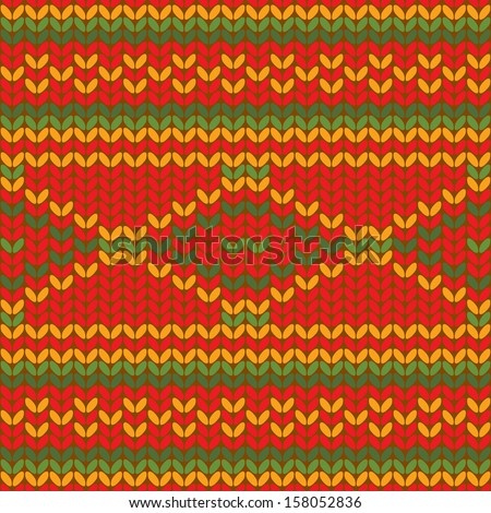 Seamless knitted pattern in vector