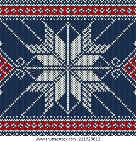 Seamless Knitted Pattern. Vector Illustration - stock vector