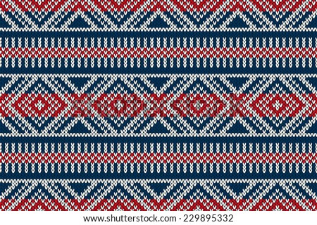 Seamless Knitted Pattern. Winter Holiday Sweater Design - stock vector