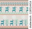 Seamless Knitted Pattern With Deer - stock vector