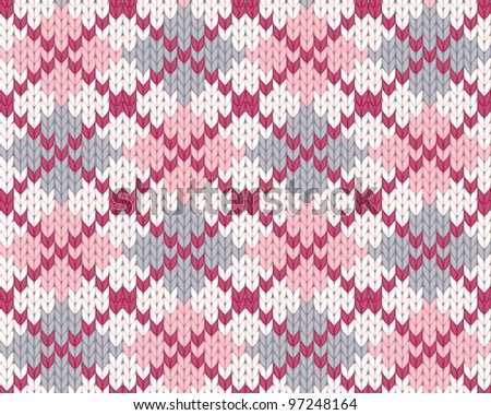 Seamless knitted pattern with rhombus for clothing. EPS 8 vector illustration. - stock vector