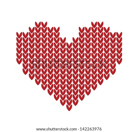 seamless Knitted vector pattern with red heart. Christmas concept for banner, placard, billboard or web site. New Year retro greeting card and background. Image for invitation - stock vector