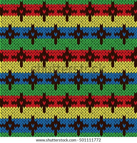 Seamless knitting geometrical vector pattern with color crosses on the striped saturated colorful background as a knitted fabric texture