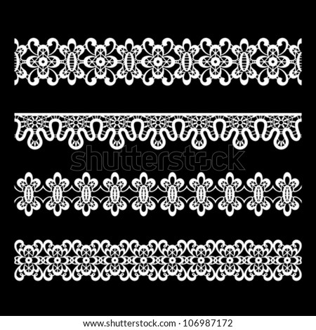 Seamless lace borders on black, vector set - stock vector
