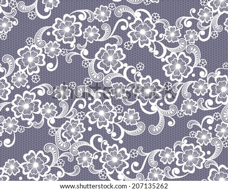 seamless lace floral background - stock vector