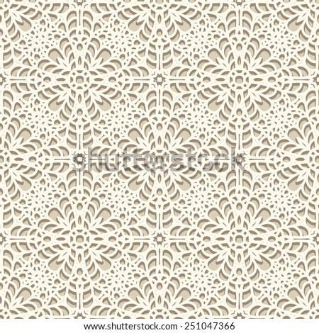 Seamless lace pattern, vector knitted or crochet texture, handmade lacy background - stock vector