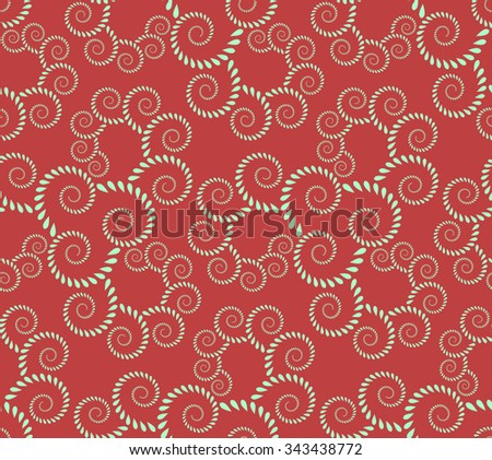 Seamless lace pattern. Vintage, curled texture. Spiral, twirl silhouettes with laurel leaves. Floral theme. Twist ornament. Light green figure on dark red background. Vector illustration - stock vector