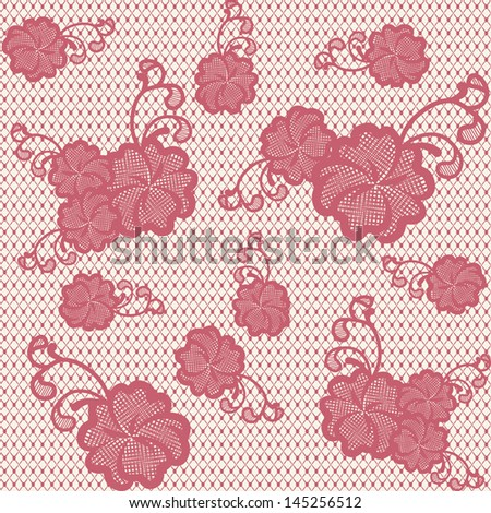 Seamless lace pattern with pink flowers. Can be used to design wedding invitations and greeting cards. Vector illustration.