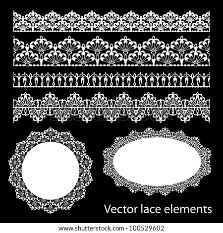 Seamless lace set - stock vector