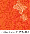 Seamless lacy pattern with flowers and butterflies. Vector illustration. - stock vector