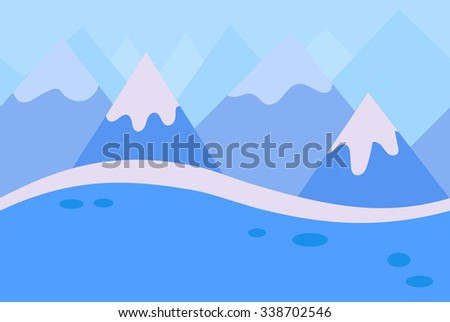 Seamless Landscape of Blue Winter Mountain Background for Game, Vector Illustration - stock vector