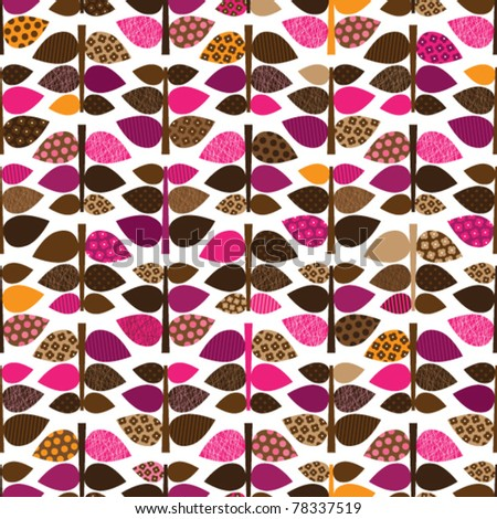 Seamless leaf branch retro pattern background in vector - stock vector