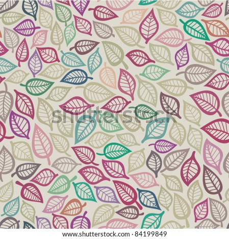 Seamless leaf pattern. Seamless pattern can be used for wallpaper, pattern fills, web page background, surface textures. - stock vector