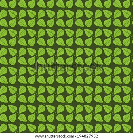 Seamless leafs green pattern - stock vector