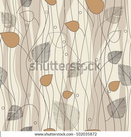 Seamless Leaves and trees pattern, on ivory background color variation. Pattern color swatch included - stock vector