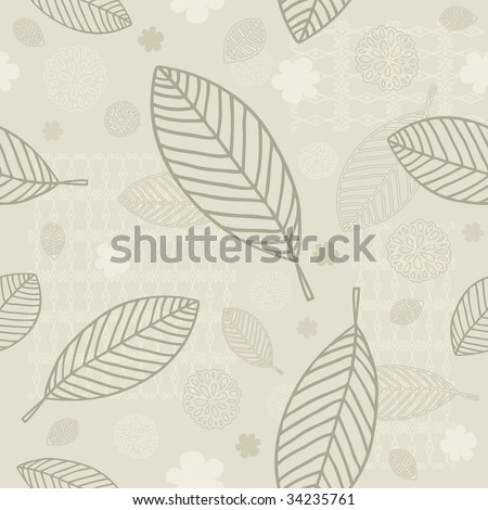 Seamless Leaves Background With Space For Text (vector). In the gallery also available XXL jpeg version of this image.