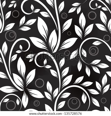 Seamless leaves monochrome vector pattern. - stock vector