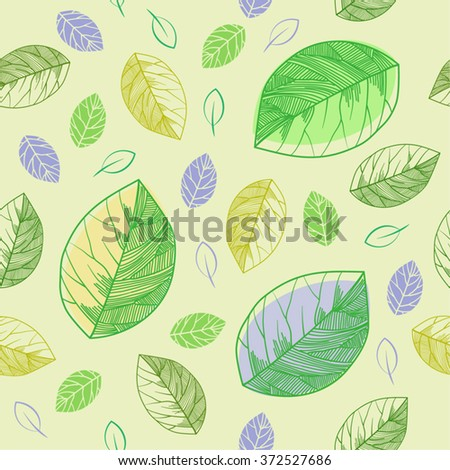 Seamless leaves on yellow background (pattern) - stock vector