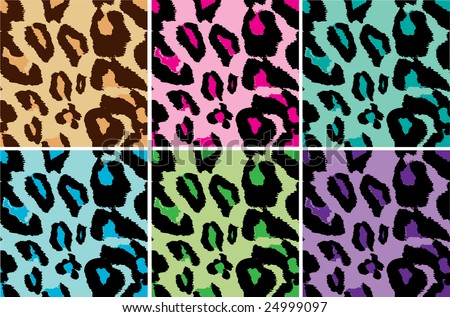 Seamless Leopard Print tiling Vector, several color tiles, use tiles together for larger background of one color - stock vector