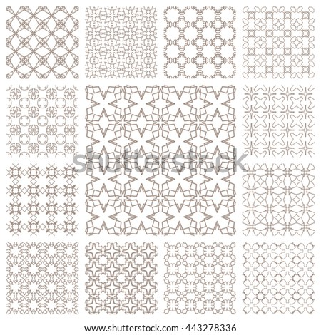Seamless line patterns set. Contemporary graphic design. Arabic, indian, turkish ornaments, tribal ethnic backgrounds with endless texture. Geometric outline seamless patterns collection
