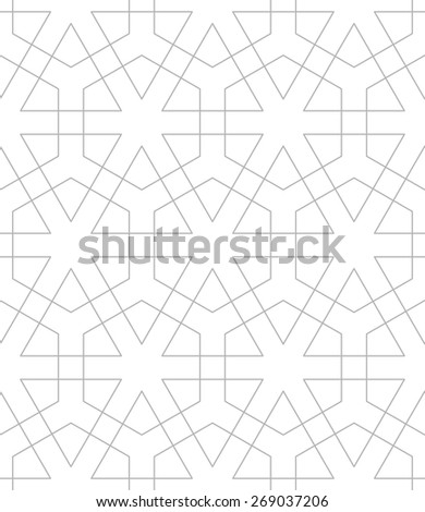 Seamless linear pattern with thin straight lines and stars. Abstract Arabic ornament.