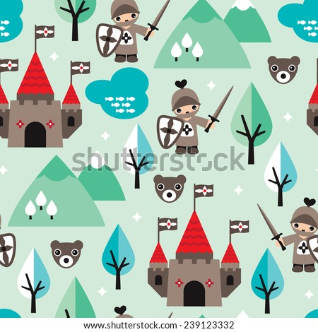 Seamless little knight and castle retro style fantasy woodland illustration kids background pattern in vector  - stock vector
