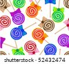 Seamless lollipops background - stock vector