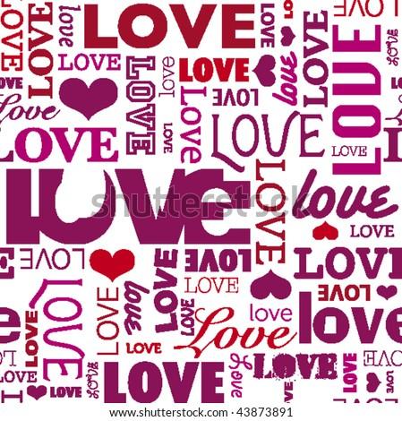 Seamless love heart shape pattern in vector - stock vector