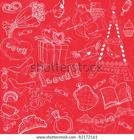 seamless love pattern - stock vector